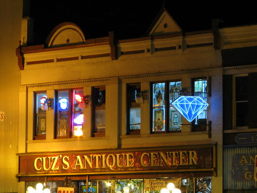 Cuz's Antiques at Night