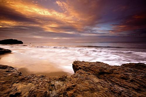 ocean california santa morning beach wet colors clouds sunrise coast sand rocks day waves natural pacific cloudy bridges cruz edge jagged