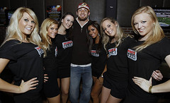 NFL Redskins Chris Cooley & SportsBuzz Models by EmmeGirls at SportsBUZZ Launch Event Public Bar DC Sports Buzz