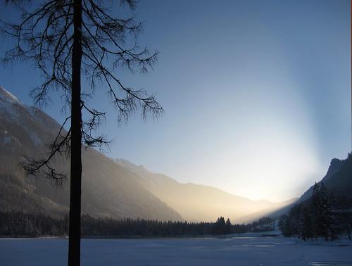 sunset mist mountain lake snow tree ice germany bavaria bluesky hintersee blueribbonwinner berchtesgadenerland abigfave anawesomeshot