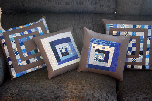 Scrapbuster and Improv Log Cabin Pillows