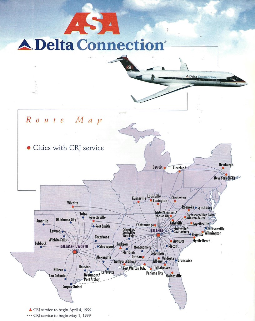 Delta Atlanta Map.Delta Connection Asa Route Map 1999 The Delta Connection Flickr