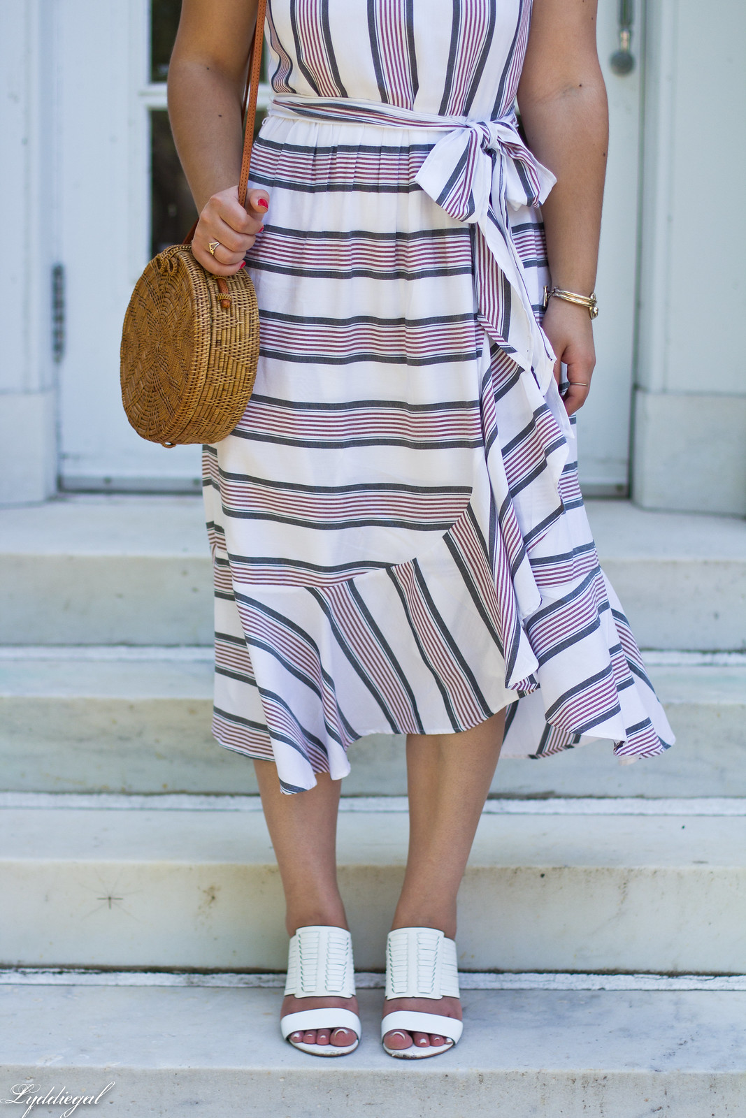 striped ruffle dress, round straw bag, white mules-3.jpg