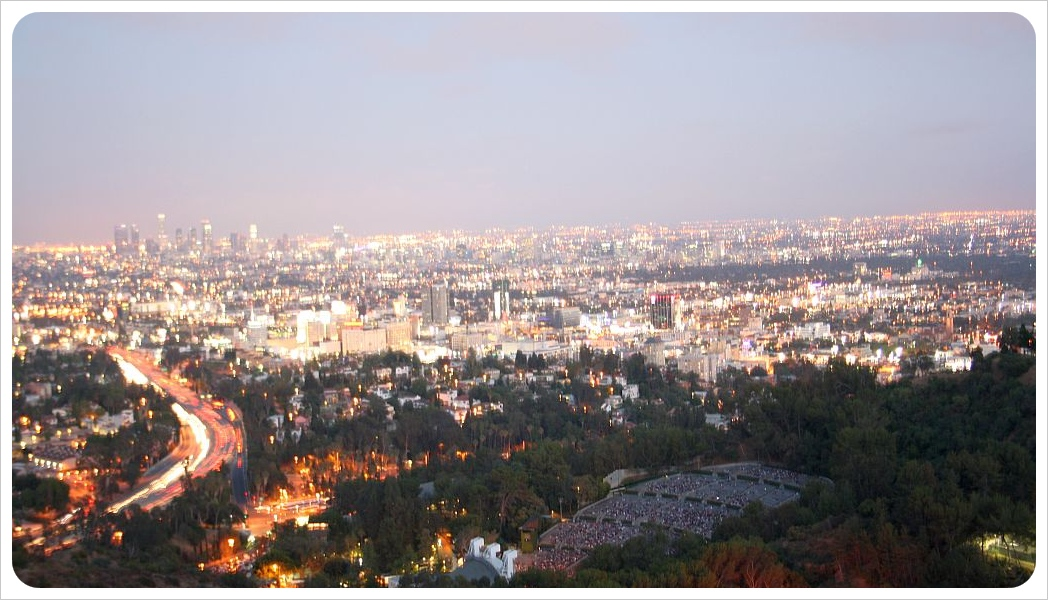 View over L.A. with Hollywood Bowl