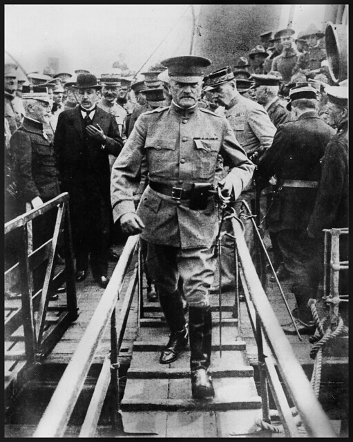 General Pershing arriving in Europe, 1917