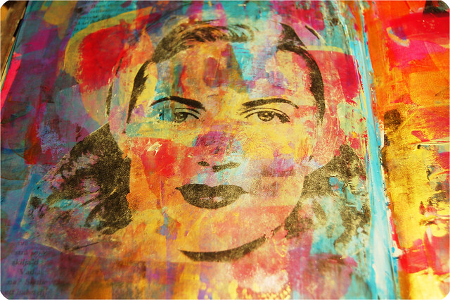 Woman not smiling close-up - a photo of an image transfer in the how to tutorial by iHanna #artjournaling