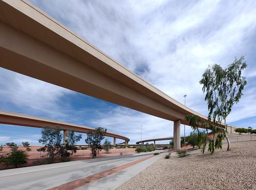 road bridge arizona phoenix highway ramp motorway overpass junction freeway infrastructure interstate sr interchange roadway carriageway spaghettijunction loop101 i17 interstate17 flyovers stateroute pimafreeway stateroute101 blackcanyonfreeway arizonastateroute101 aguafriafreeway arizonastateroute