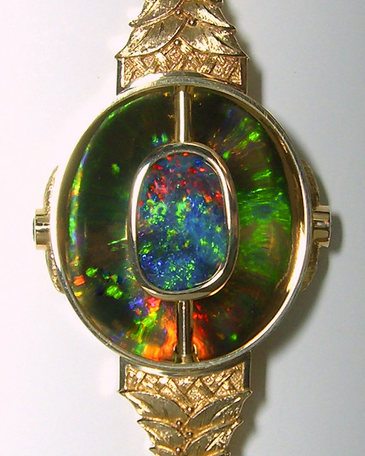 18K Black Opal Pendant / Reflection