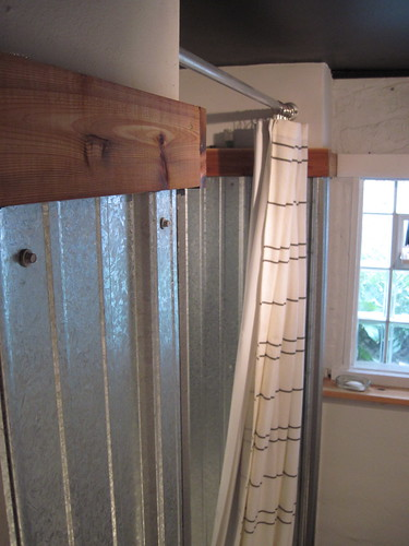 Galvanized shower surround a complete how to bungalow for Corrugated iron bathroom ideas