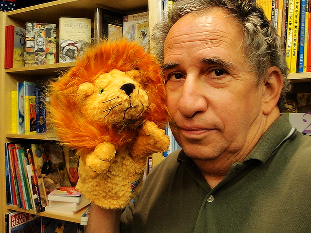Self Portrait with Lion Hand Puppet