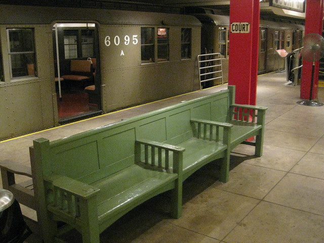 Vintage train car at the NYC Transit Museum