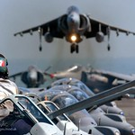 GR7 Harrier of IV (AC) Sqn RAF Lands on the deck of HMS Invincible during Exercise Magic Carpet 05