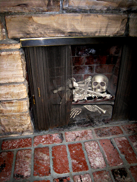 Halloween Decorating Ideas Skeleton Bones In Fireplace