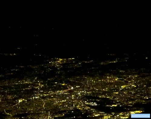 Paris by night, aerial photograph
