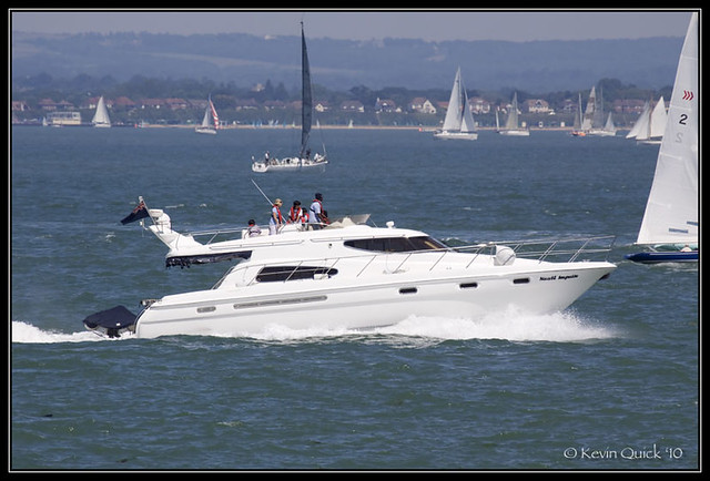 Sealine T51 motor yacht off Cowes, Isle of Wight, UK