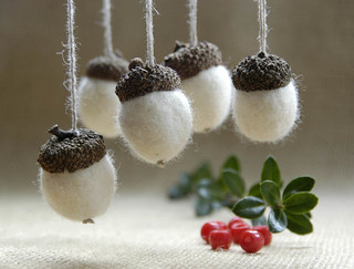 White wool acorns