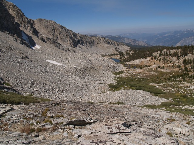 Looking back down Horseshoe Creek. The topo map shows much larger patches of perennial snow along the north-facing slopes on the left.