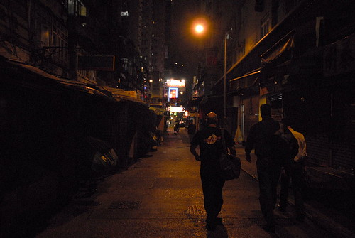 Rackers walking Hong Kong at Night