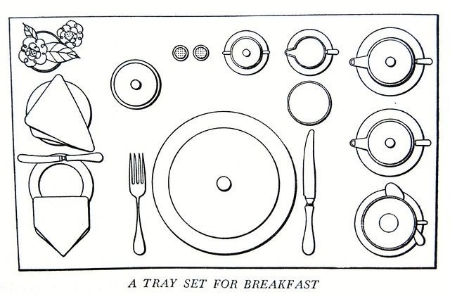 a tray set for breakfast