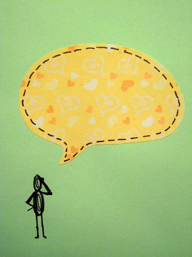 my thoughts are in my word bubble - detail