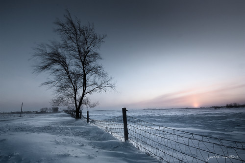 winter sunset snow cold southdakota fence wind siouxfalls windchill