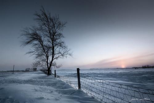 winter sunset snow cold southdakota fence wind siouxfalls windchill