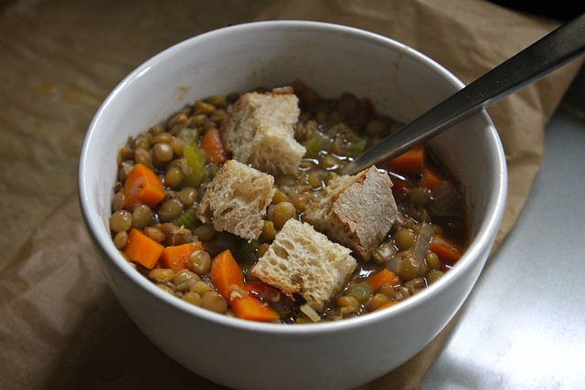 vegetable lentil soup with garlic croutons | :::recipe ...