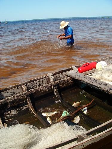 Pescador no Arapiuns. Foto: Celivaldo Carneiro