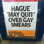 Hague May Quit Over Gay Smears