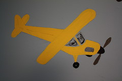 model aircraft, aviation, airplane, yellow, wing, vehicle, piper j-3 cub, propeller, illustration, flight, toy,