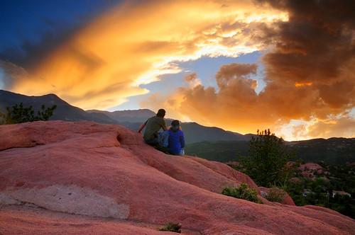 sunset woman man yellow clouds evening colorado couple view vivid coloradosprings andrewvernon nikond300s aperture3