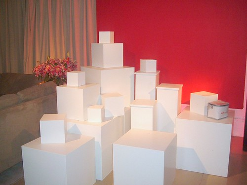 Cubes Display and Museum Cubes and risers for rent at shop studios in New York