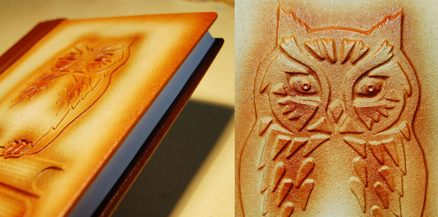 Leather journal with owl by iHanna - Copyright Hanna Andersson