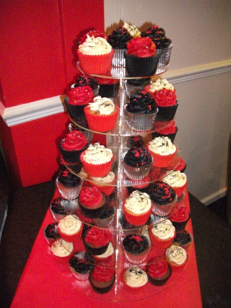 RedBlack Silver Themed 40th Birthday Cupcakes