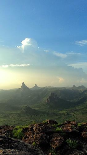africa light mountains clouds landscape scenery rocks heaven background horizon peak dyke drama sfumato cameroon cameroun cumulonimbus volcans incrediblelight rhumsiki