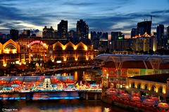 Sun's down at Clarke Quay Singapore.