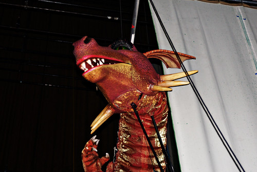 Dragon backstage at Shrek the Musical, take 2.