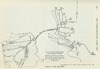 Transit travel time from 3rd and Market (1936)