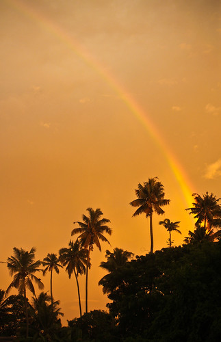 sunset india rainbow kerala inde allepey