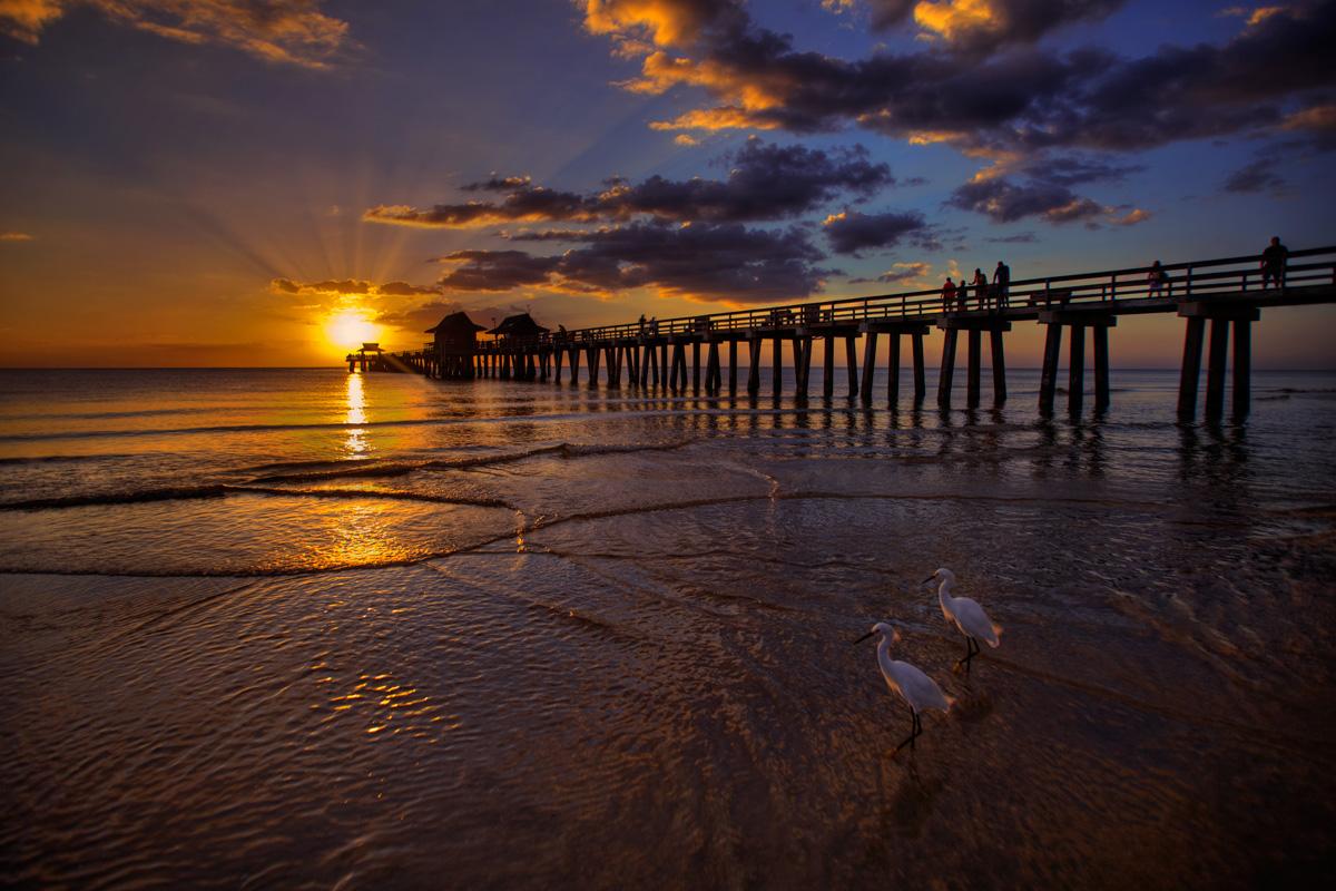 Wallpaper Naples Florida: Naples Fishing Pier Sunset At Beach