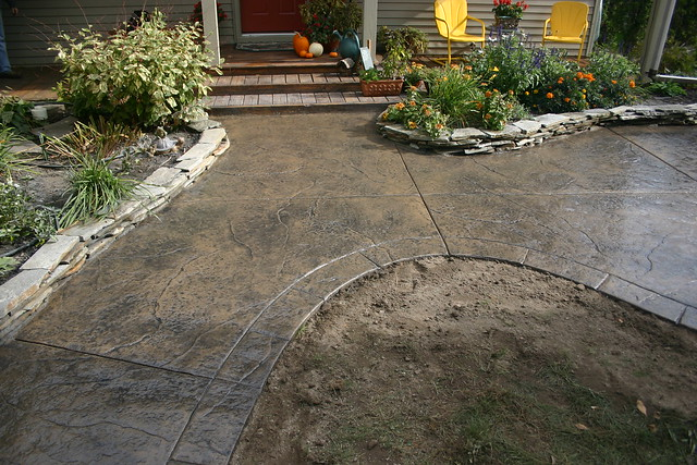ryan job seamless stamped concrete patio and sidewalk with segmented