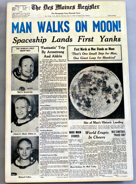 moon landing newspaper pics about space