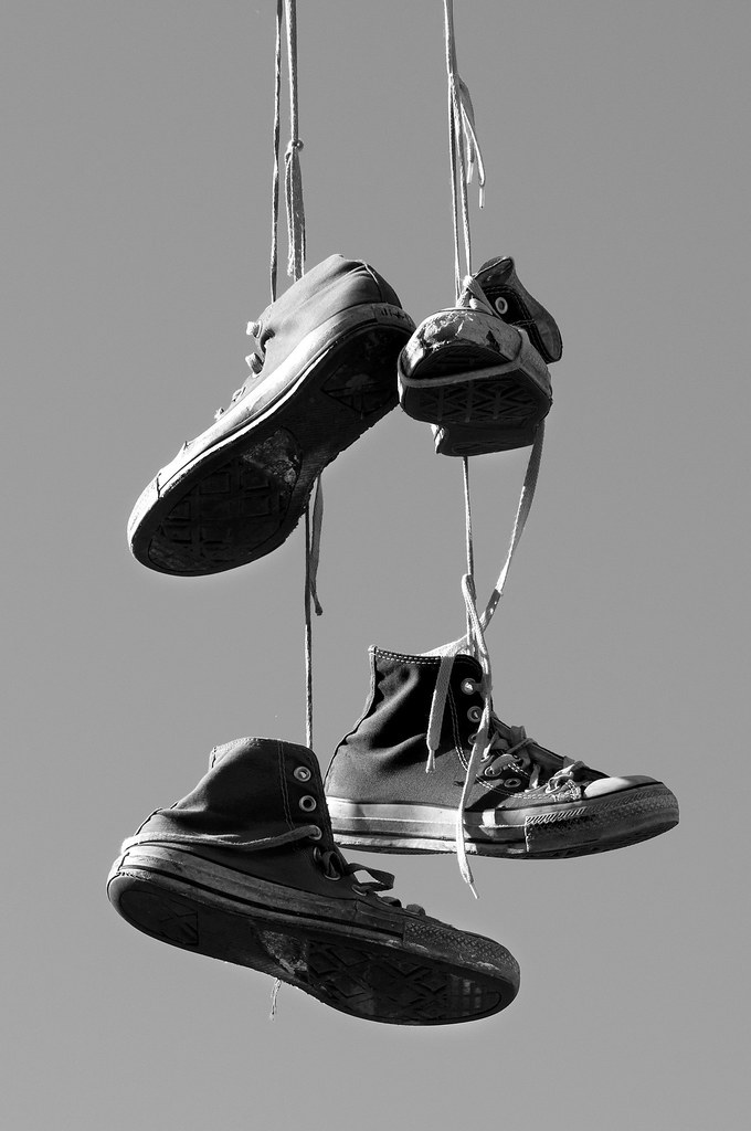 hanging on laces