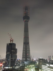 The test for lighting up in Tokyo Sky Tree under construction