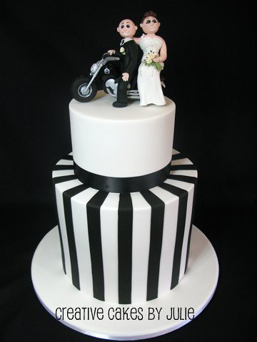 Black And White Harley Davidson Wedding Cake