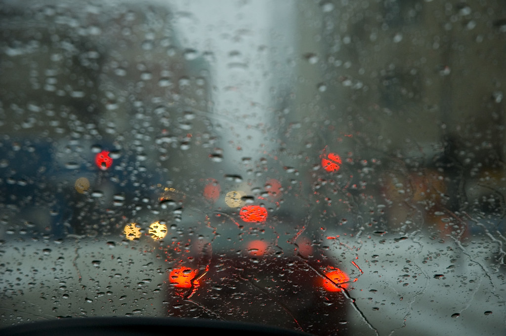 storm through a windshield | A blurry view of traffic and th… | Flickr