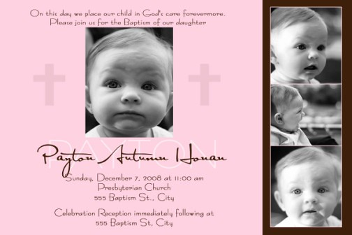 Modern Pink Chocolate Brown Baptism Christening Invitation