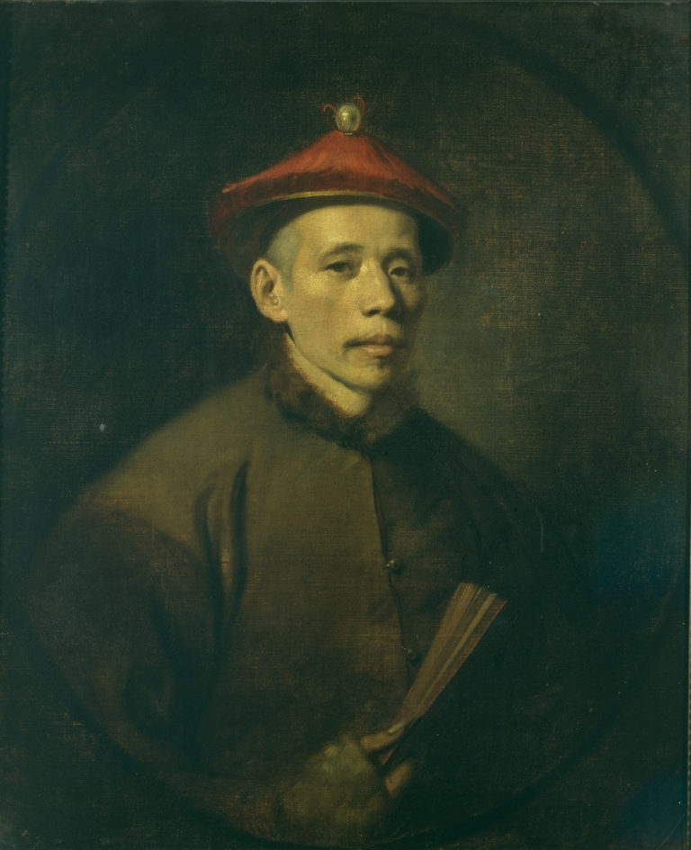 Attributed to John Hamilton Mortimer, Portrait of Chitqua, oil on canvas, 75x62cm, c.1770-1771. Coll: Hunterian Museum at the Royal College of Surgeons