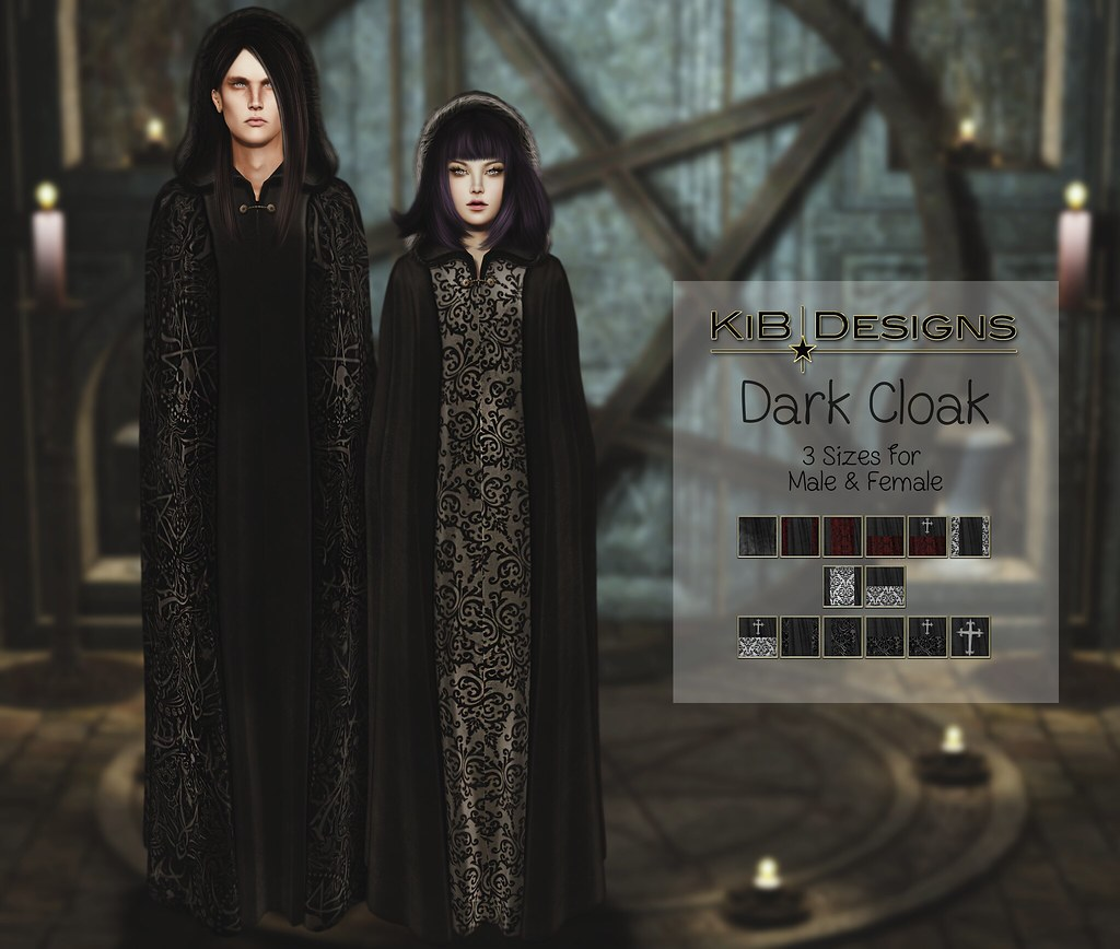 KiB Designs - Dark Cloak - Unisex @The Darkness Event - SecondLifeHub.com
