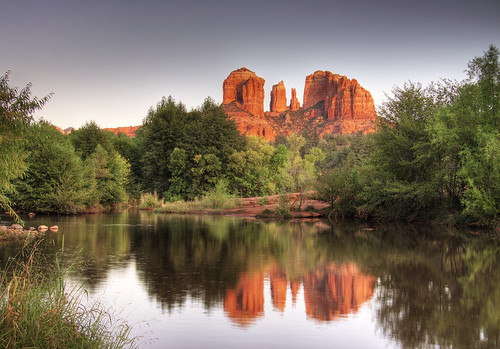 park sunset red vacation arizona usa cloud mountain mountains southwest reflection green phoenix rock clouds forest reflections river landscape cathedral state sedona az hike national redrocks redrock hdr cathedralrock fourcorners hikes coconino 4corners landscapeus
